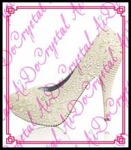 Aidocrystal Handgefertigte High Heels 10 cm Frauen Pumpt brautschuhe plattform diamant perle weiß volle strass hochzeit schuhe