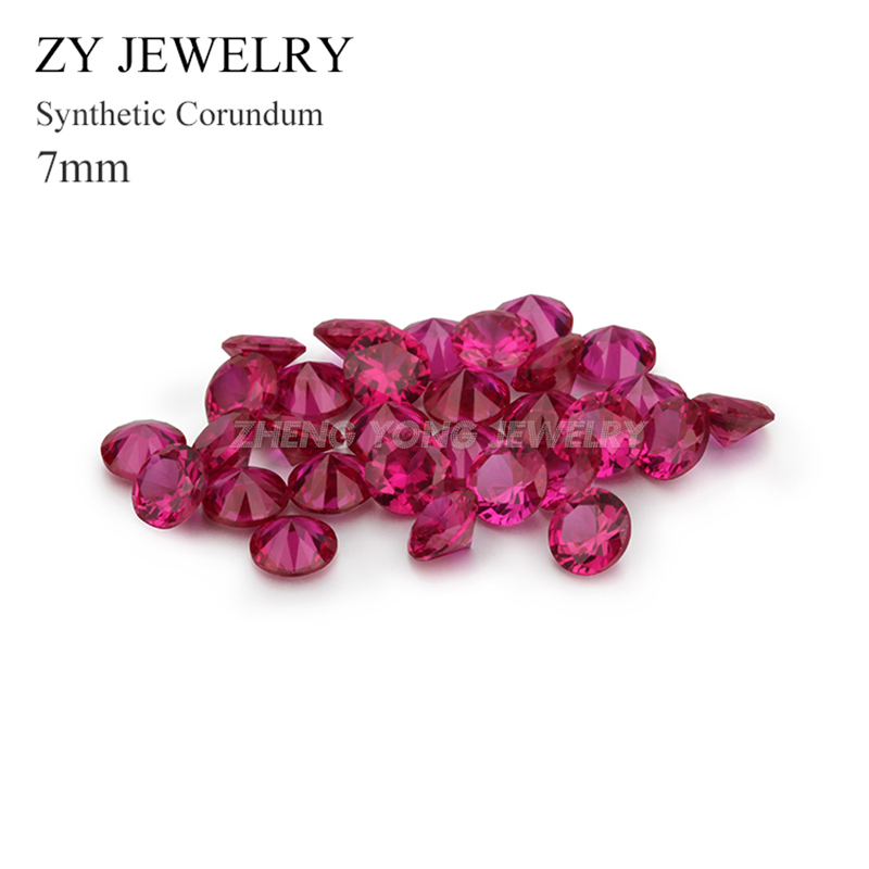 100pcs/lot 7.0mm Round Shape Brilliant Cut Loose Synthetic 5# Red Corundum Stone for Jewelry