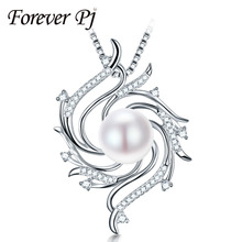Elegant 10-11mm Girls Pearl Pendants Wind Design Traditional 925 Silver Necklace For Girls 45CM Silver Chain With AAAA Pearl