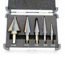 New Arrival High Quality 5pcs/Set HSS COBALT MULTIPLE HOLE 50 Sizes STEP DRILL BIT SET w Aluminum Case