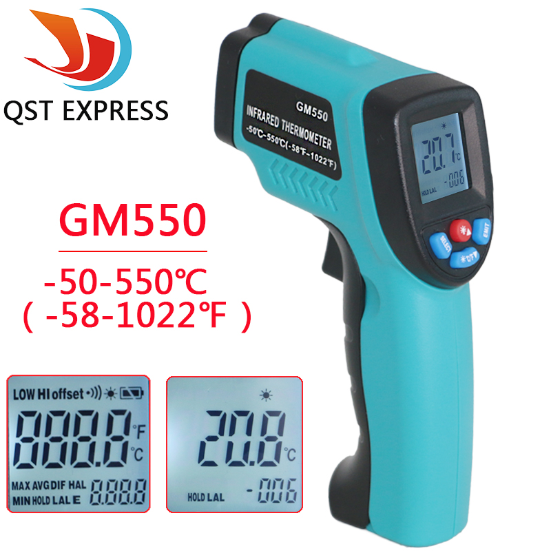 GM550 -50~550 C Digital infrared Thermometer Pyrometer Aquarium laser Thermometer Outdoor thermometer benetech lcd digital infrared thermometer pyrometer laser point temperature gm300 meter free shipping