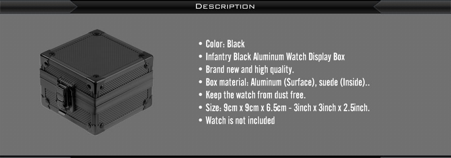 INFANTRY Fashion Rock Style Upgrade Black Aluminum Gift Box Show Cases Watches Display Watch Holder Organizer Bracelet Boxes 8