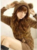 бесплатная доставка милый lit удобные медведь, которые говорят с caption куртки коричневый, черный, белый или бежевый 0115