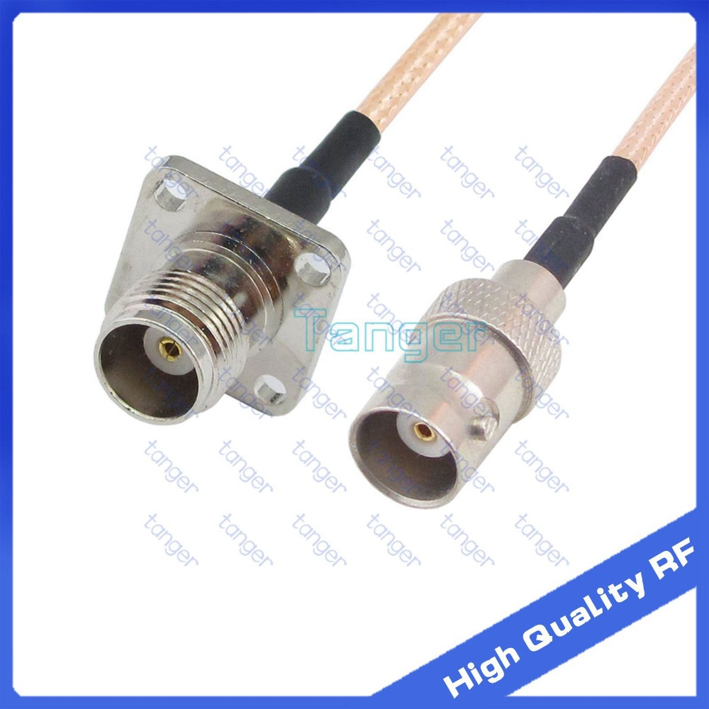 """TNC female 4hole panel to BNC female  with RG 316 RF Coaxial Pigtail Jumper cable 6"""" 15cm Tanger High Quality