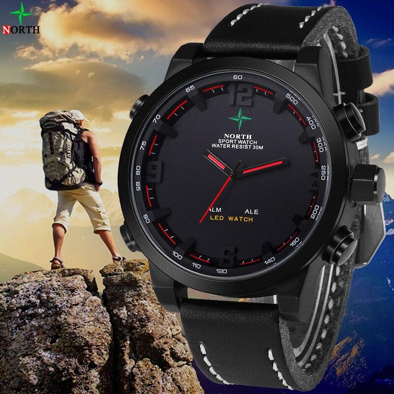 Male Sports Watch Analog Digital watch LED Stainless Steel Waterproof Wristwatch Quartz Wrist Military 2016 Men