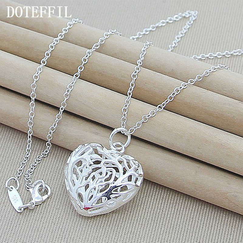 Fashion 925 Silver Color Necklace For Women Hollow Love Heart Shaped Pendants Necklaces 925 Silver Color Jewelry N330