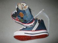 мальчик и девочка холст туфли дети милые досуг обувь галстук молнии спортивная обувь кроссовки совет подкладка для туфлей нижняя флаг шнурки d026