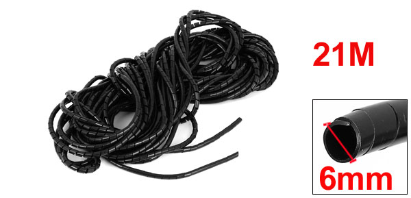 uxcell 6mm Dia 13M Length Cable Wire Tidy Wrap Spiral Wrapping Band Organizer Black