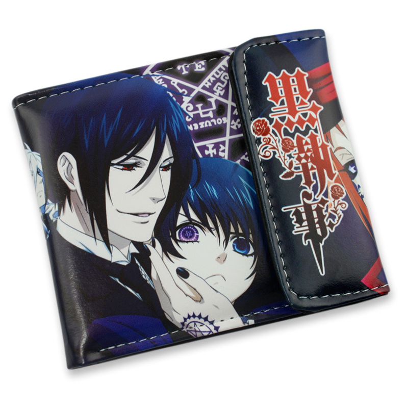 Sebastian Michaelis Ciel Phantomhive raven sign Black Butler PU short wallet Type A