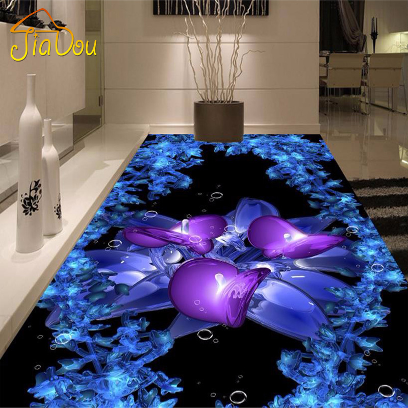 Custom Floor Mural 3D Creative Crystal Art Painting Bedroom Living Room Bathroom PVC Self-adhesive Waterproof Wallpaper Modern  custom 3d floor painting wallpaper stone steps sunshine pvc self adhesive living room bedroom bathroom floor sticker wall mural