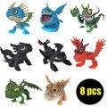 8 unids/lote 5-7 cm Cómo Entrenar a Tu Dragón 2 Figura de Acción de Juguete, dragón 2 Desdentado Figura Set, Anime Brinquedos, Juguetes de los niños