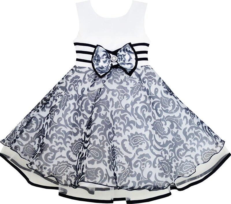 Filles robe sans manches Tulle motif cachemire perle noeud papillon rayure 2019 été princesse robes de fête de mariage enfants vêtements