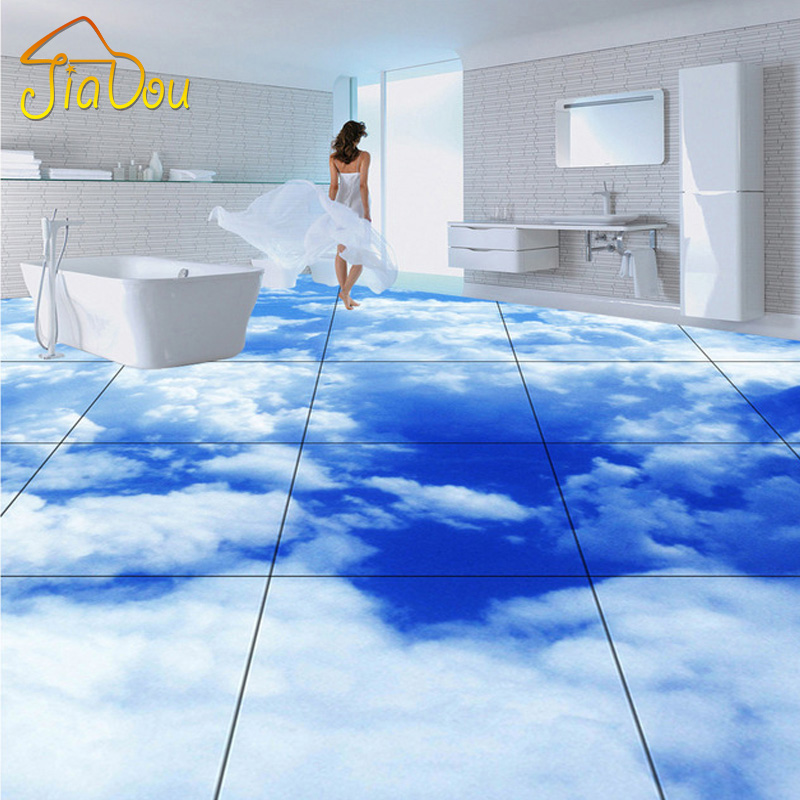 Custom floor wallpaper blue sky white clouds living room for Bathroom floor mural sky