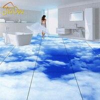 Custom Floor Wallpaper European Simple Blue Sky And Clouds 3D HD Mural Living Room Bedroom Bathroom