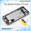 Para el iphone 6 plus vivienda completa de la cubierta + flex cable + botones laterales + sim bandeja de piezas de repuesto 1 unidades envío gratis