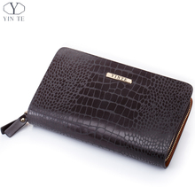 YINTE Men's Clutch Wallets Leather Famous England Style Brown Clutch Bag Passport Purse Men Card Holder Crocodile Prints T9981