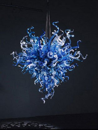 Industrial Lighting Flower Shape LED Bulbs Art Modern Blue Colored Hand Blown Glass Chandelier turkish mosaic lamps blue crystal glass led lights hand blown murano glass chandelier lighting