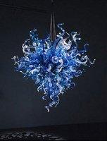 Industrial Lighting Flower Shape LED Bulbs Art Modern Blue Colored Hand Blown Glass Chandelier