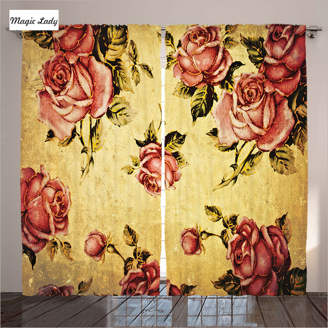 Vintage Curtains Living Room Bedroom Decorations Collection Victorian Style  Rose Pattern Pink Art Be Curtains Vintage