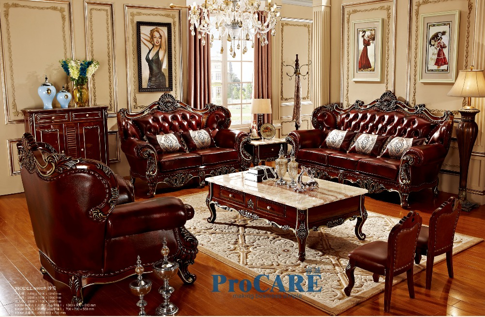 3 different sets red solid wood genuine leather sofas set living room  furniture with coffee table in China-PRF6801/05/08
