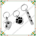 Keychain CMJ8309 Three-piece! Cremation Keepsake Memorial Jewelry Stainless Steel Pet Heart Cylinder Dog Paw Urn Key Chain
