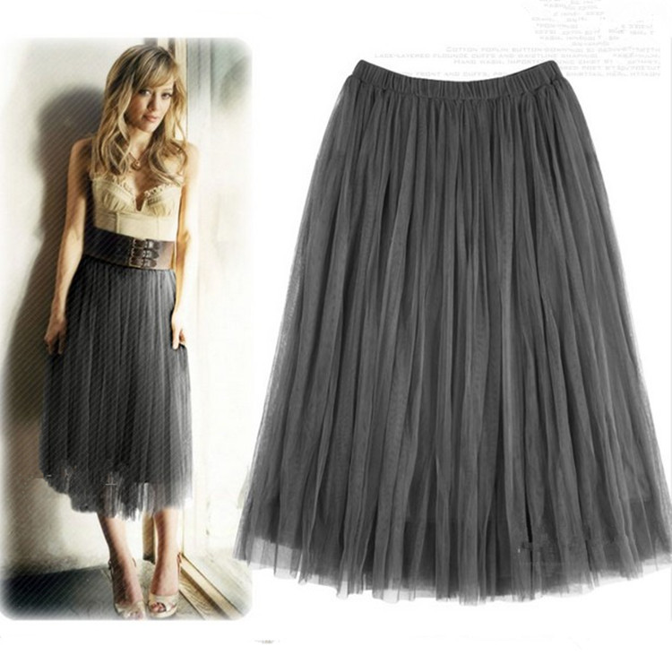 Net Yarn Ball Gown European Style Summer Skirt Black White Apricot