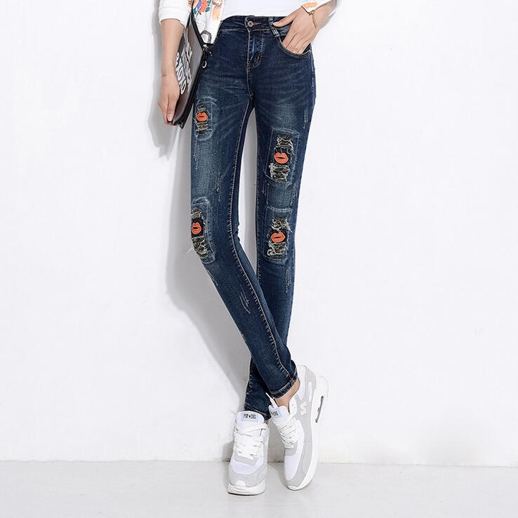 #3229 2016 Vintage Jeans with embroidery Fashion Slim Vaqueros Jeans with holes Jeans strappati donna Ladies ripped jeans Skinny