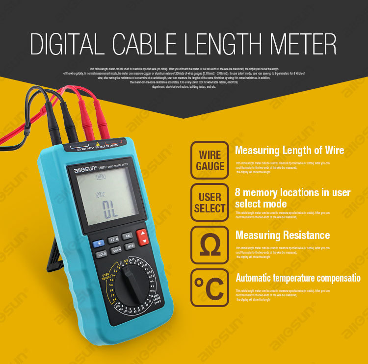 Modern digital cable length meter 4 12 digit display automatic in addition the meter can measure resistance accurately it is a very useful tool for wirecable retailer electricity departmentelectrical contractors keyboard keysfo Gallery