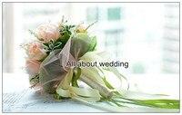 розовая цвет розы с лентой свадебный бросок букет свадебный букет невесты аксессуары