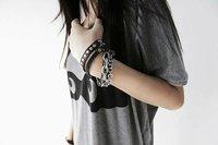 минимальный. заказ $ 10 ювелирные изделия, в стиле панк цепи заклепки многослойные искусственная кожа браслет обруча e0335009 света g24