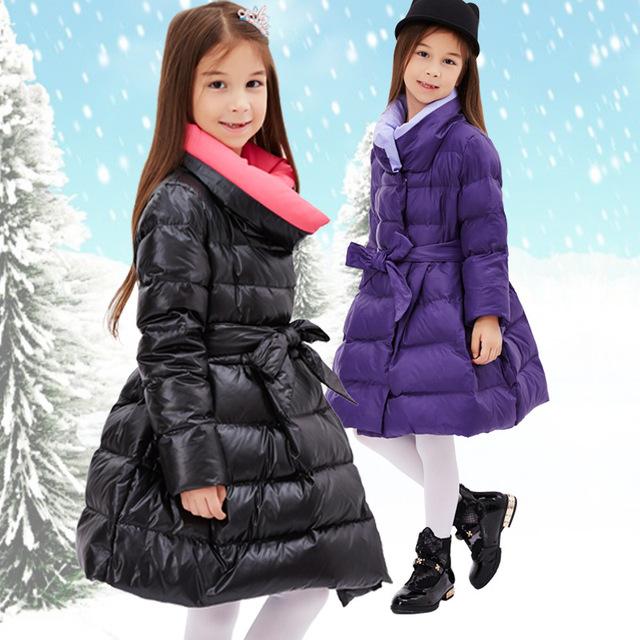 Crianças casacos de inverno meninas 2016 nova marca longo meninas jaqueta de inverno criança engrossar casaco quente com cinto de meninas de inverno 6-15 T