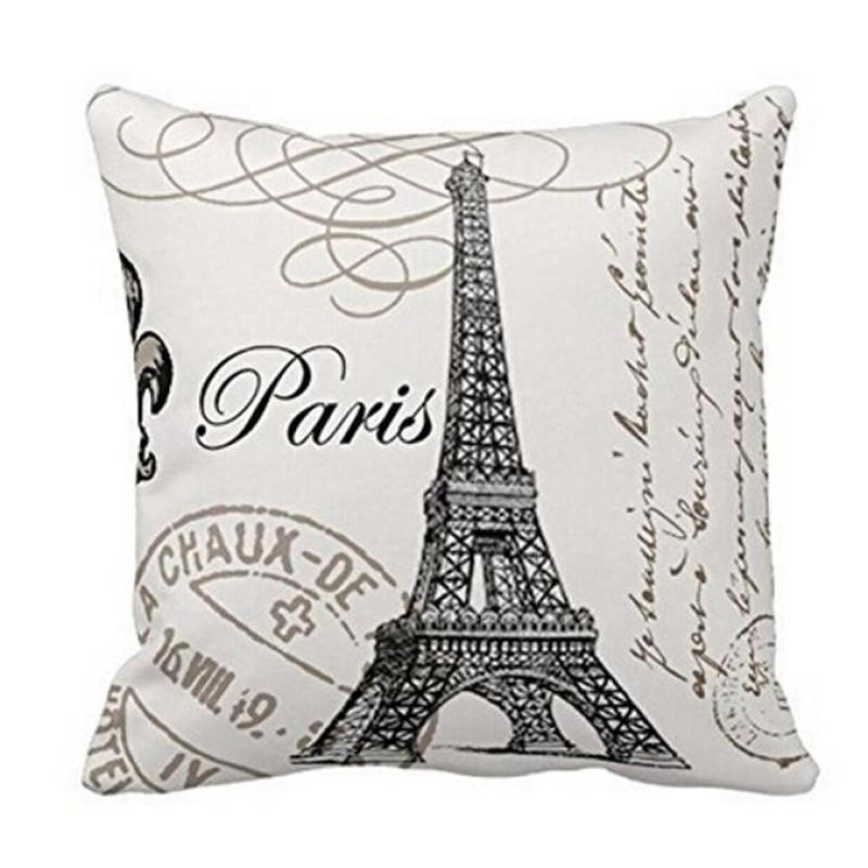 Vintage Paris Eiffel Tower Soft Cotton Linen Throw Pillow Case Cover Square Zipper Decorative Pillowcase Gift 1pcs Dropshipping
