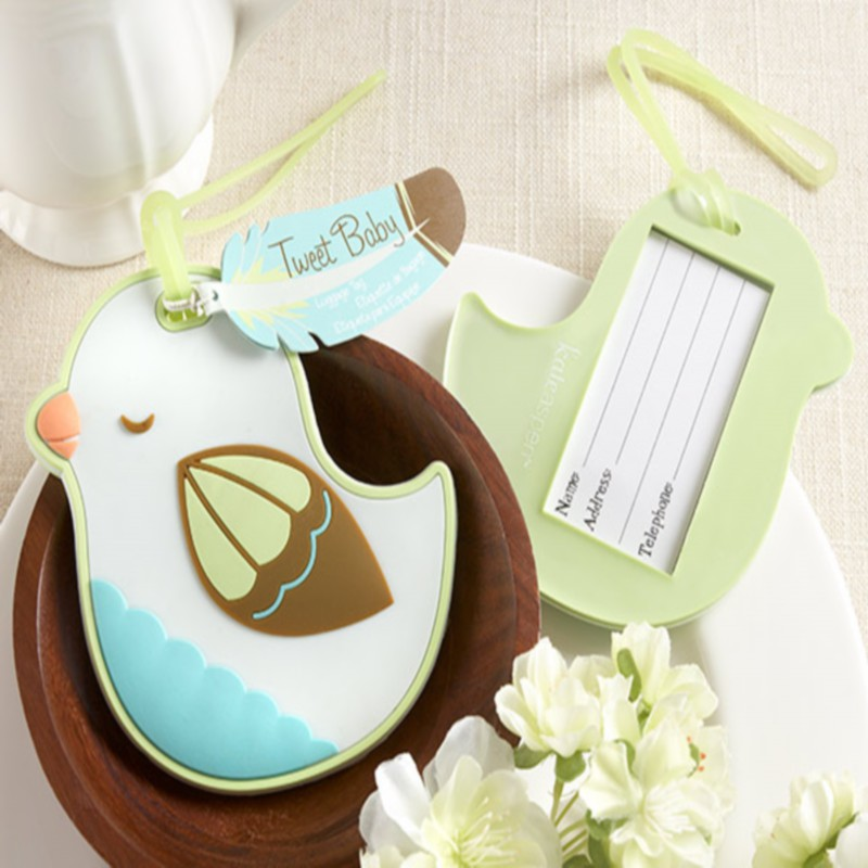 300pcs/Lot+Tweet Baby Baby Bird Luggage Tag Baby Birthday Giveaway Rubber Baggage Tags Wedding Favors+FREE SHIPPING