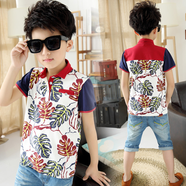 Boys T-shirts Floral Print Tops For Children Cotton Kids Clothing Causal Boys Clothes Summer Sports Tees Short Sleeve Costumes