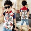 Chicos Camisetas Tops Impresión Floral Para Niños de Algodón Ropa de Niños Chicos Causales Ropa Deportes de Verano Camisetas de Manga Corta Trajes
