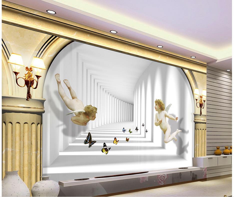 European Space Angel Roman Ceiling Murals Wallpaper Custom