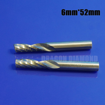 5pcs 6mm x52mm one flute milling Cutter Tools Cnc Bits Single Flute Spiral Router Carbide End Mill