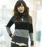 красивая женщин в корейской мода хлопок полосатый водолазка с длинными рукавами широкий свободного покроя свитер пуловеры бесплатная доставка УГ 30