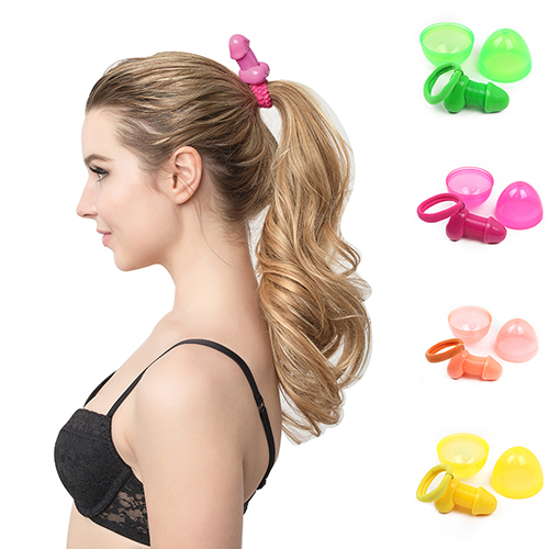 6 Pcs Creative Roomfun Sex Penis Hair Band Rope Toys Ponytail Holder Hairband