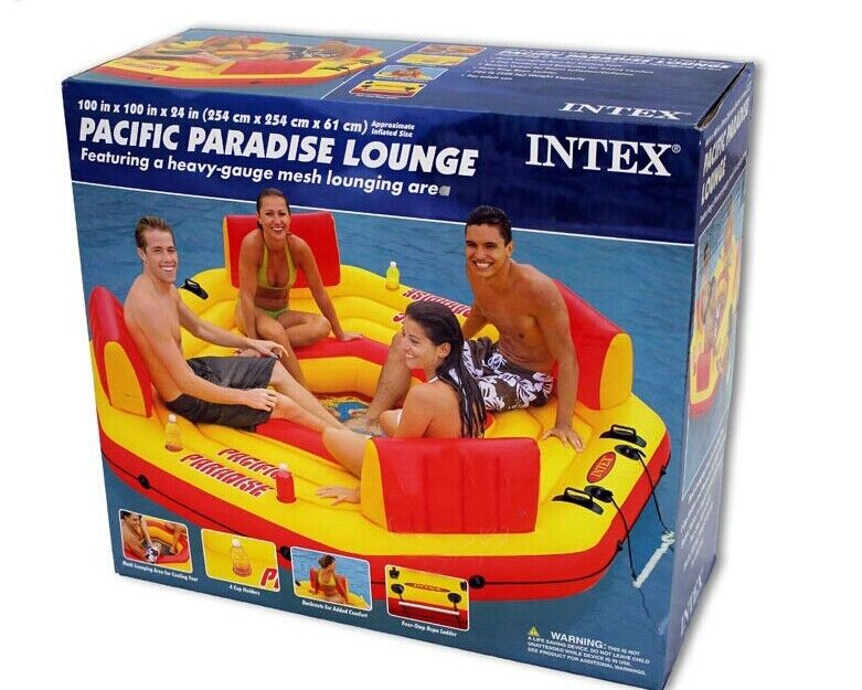 Intex piscine 4 personnes flotteur d'eau gonflable pour fête de famille eau île sports nautiques taille 254*254*6 cm - 6