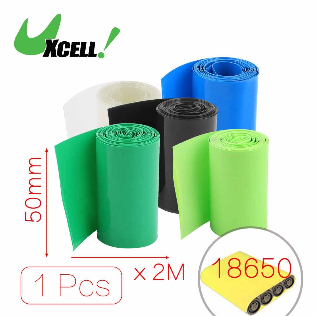 Uxcell 2Meters 50Mm Width Pvc Heat Shrink Wrap Tube Blue For 2 X 18650 Battery .blackbluecleargreengrren