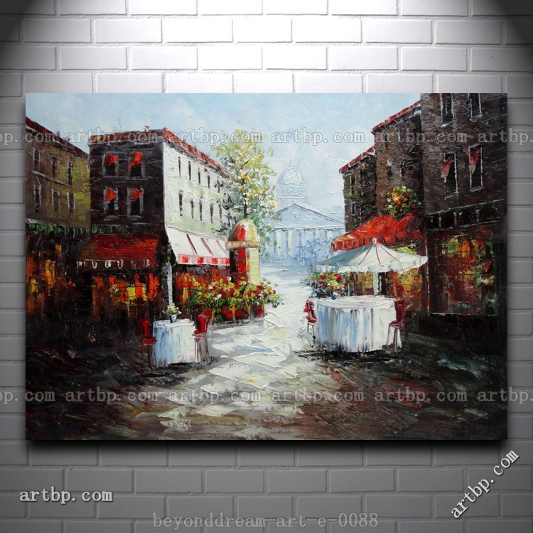 Bistro On Paris Street Oil Painting Impressionism Cityscape Hand