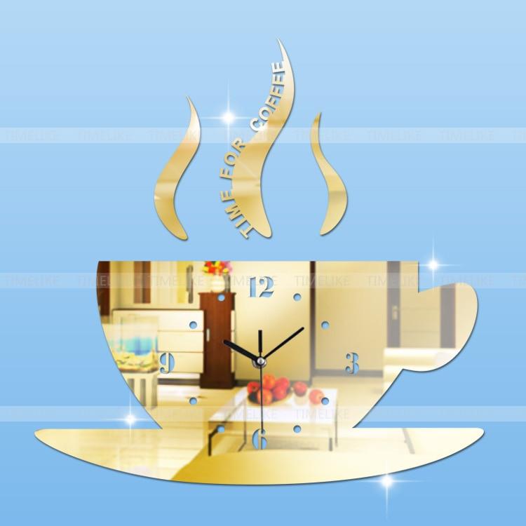 Diy Hot 3d Acrylspiegel Wanduhr Kaffeetasse große Uhr modernes - Wohnkultur - Foto 4