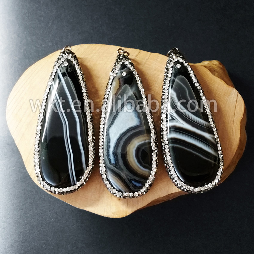 WT-NP185 Wholesales Custom Fashion Elegant WKT Black Gun Link Micro Pated Natural at gate Long Teardrop Pendants