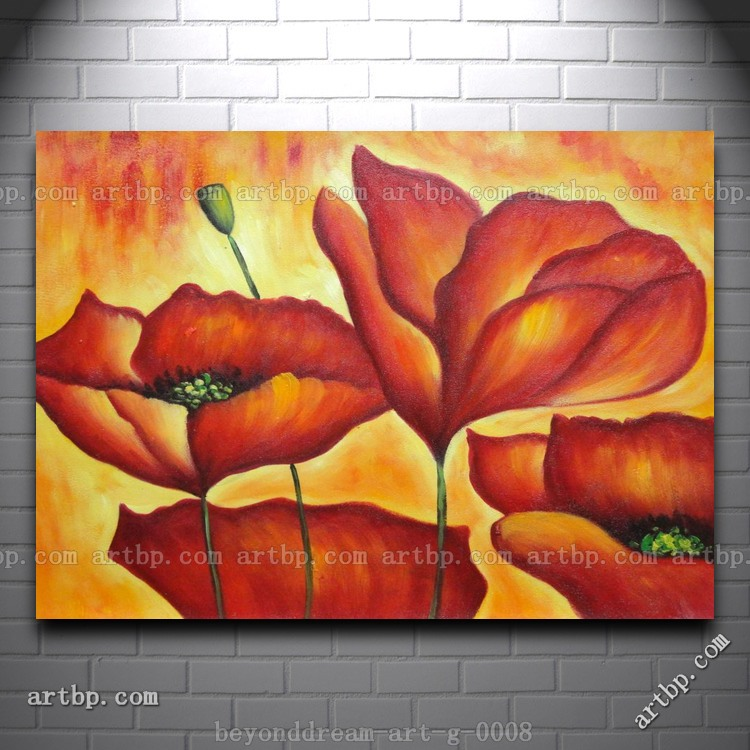Fire Red Flowers In Yellow And Red Background Oil Painting Abstract African  American Art Large Wall Art Free Shipping Han In Painting U0026 Calligraphy  From ...