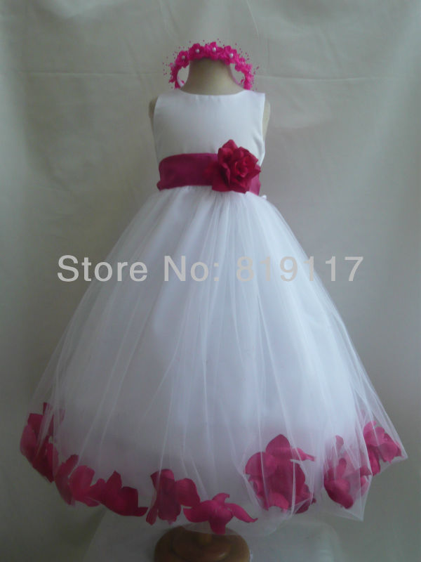 White Fuchsiahot Pink Princess Flower Girl Dress 6 12 18 24 Mo 2 4