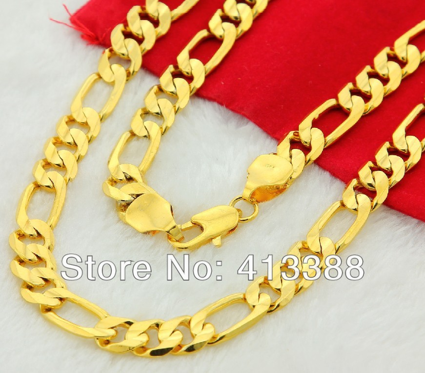 GK4 24k gold man jewelry necklacecool three interval one 24k gold