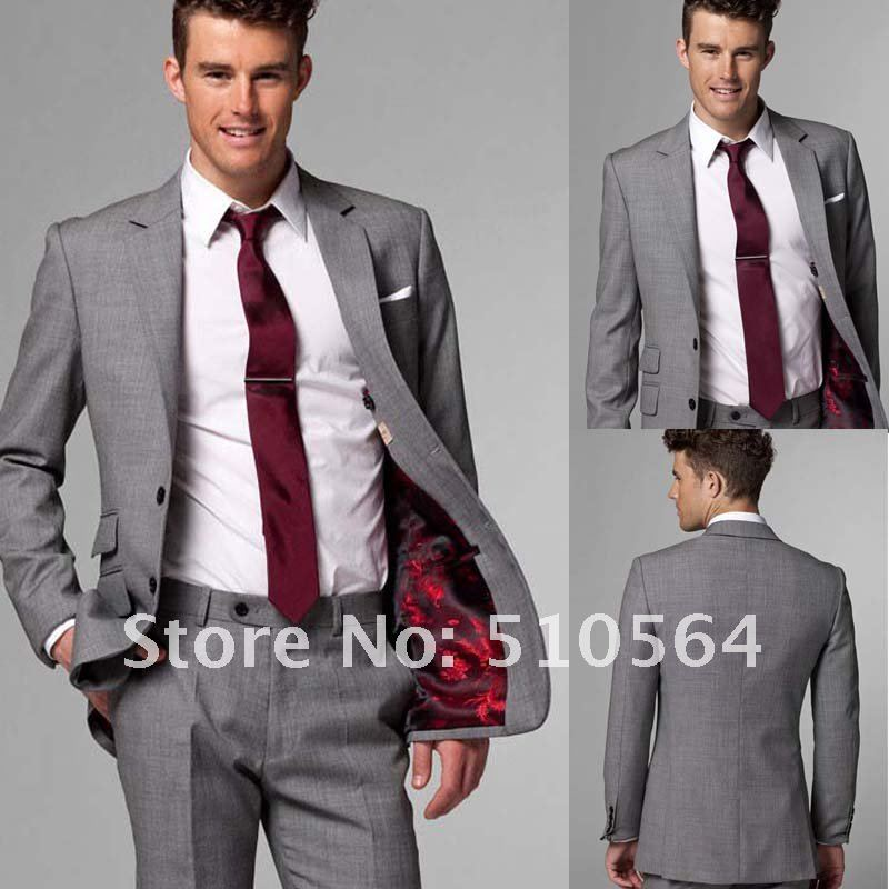 Wholesale Free shipping Wool Men Business suit Gray Two pieces ...