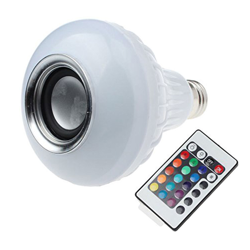 e27 led rgb bulbs wireless bluetooth speaker lamp with rf