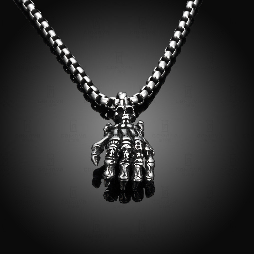 Titane acier marée restauration anciennes voies crâne pendentif personnalité le fantôme main homme collier - 2